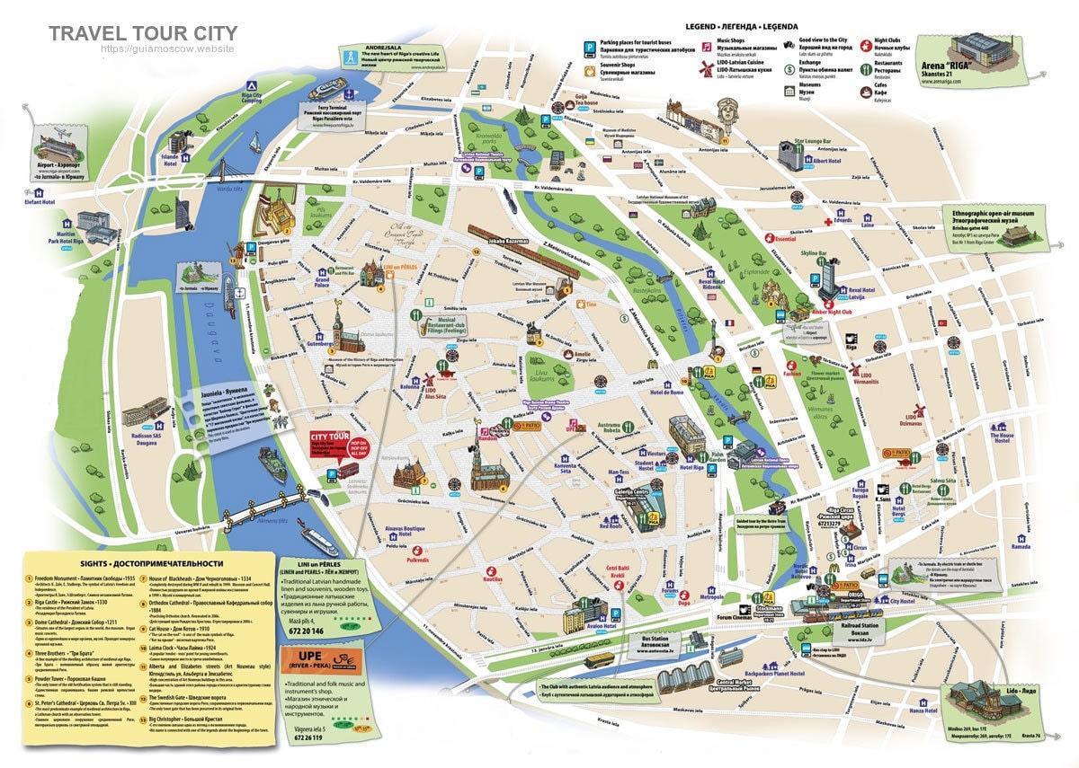 Un mapa turistico de Riga
