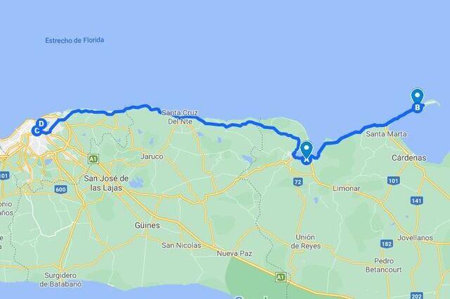 Recorrido desde Varadero hasta la Habana